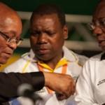 Jacob Zuma, Zweli Mkhize et Cyril Ramaphosa.